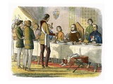 Prince Edward Serves King John of Artois at Table after Having Defeated Him at Poitiers Giclee Print by James E. Doyle