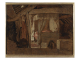 The Bed in the Attic (Oil on Board) Giclee Print by John Linnell
