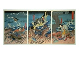 The Death of Tomomori at the Battle of Dan-No-Ura, 1185, Pub. C.1844, (Colour Woodblock Print) Premium Giclee Print by Kuniyoshi Utagawa