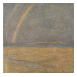 Rainbow over the Needles, Isle of Wight, C.1890 (Oil on Board) Giclee Print by Arthur George Bell