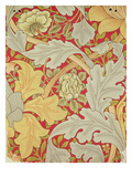 Acanthus Leaves and Wild Rose on a Crimson Background, Wallpaper Design Premium Giclee Print by William Morris