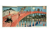 Ushiwaka and Benkei Fighting on Gojo Bridge, Published C.1839 (Colour Woodblock Print) Premium Giclee Print by Kuniyoshi Utagawa