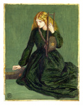 The Harp Player, a Study of Annie Miller, 1872 (W/C and Gouache) Giclee Print by Dante Charles Gabriel Rossetti