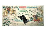 Kamei Rokuro and the Black Bear in the Snow, 1849 (Colour Woodblock Print) Giclee Print by Utagawa Kuniyoshi
