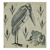 A Pelican and Frog in Conversation (W/C on Paper) Giclee Print by William De Morgan