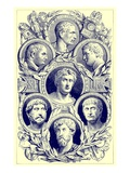 Roman Emperors, Illustration from 'The Illustrated History of the World', Published C.1880 Premium Giclee Print by  English