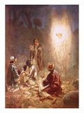 An Angel Announcing to the Shepherds of Bethlehem the Birth of Jesus Giclee Print by William Brassey Hole