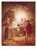 The Shepherds Finding the Infant Christ Lying in a Manger Giclee Print by William Brassey Hole