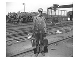 Railroad Worker, C.1900 (B/W Photo) Giclee Print by  American Photographer