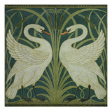 swan, Rush and Iris' Wallpaper Design Giclee Print by Walter Crane