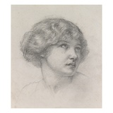Head of a Girl (Pencil on Paper) Giclee Print by Walter John Knewstub