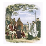 Augustine Preaching before King Ethelbert Giclee Print by James E. Doyle
