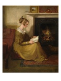 A Fireside Read, C.1825 (Oil on Panel) Giclee Print by William Mulready