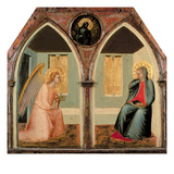 The St. Giusto Polytych, Detail Showing the Annunciation (Tempera on Panel) Giclée-tryk af Pietro Lorenzetti