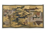 Spring in the Palace, Six-Fold Screen from 'The Tale of Genji', C.1650 Premium Giclee Print by  Japanese