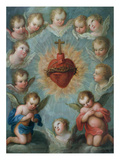 Sacred Heart of Jesus Surrounded by Angels, c.1775 Giclee Print by Jose de or Joseph Paez