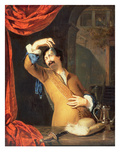 T31553 a Cavalier Standing at a Window Examining a Roemer (Panel) Giclee Print by Willem Van Mieris