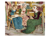 Needleworkers, Detail from &#39;The Triumph of Minerva: March&#39;, Room of the Months, C.1467-70 Giclee Print by Francesco del Cossa