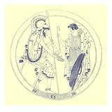 A Seated Warrior Holds His Wine Cup, Illustration from 'Greek Vase Paintings' Giclee Print by  English