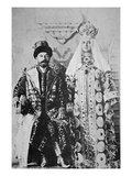 Tsar Nicholas Ii and Tsaritsa Alexandra in Full Coronation Regalia, May 1896 (B/W Photo) Giclée-tryk af Russian Photographer