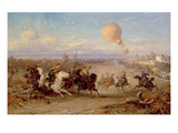 Prussian Hussars Firing at a French Observation Balloon, 1872 (Oil on Panel) Giclee Print by Ludwig Braun