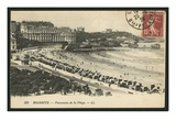 Postcard Depicting the Grande Plage of Biarritz, C.1900 (B/W Photo) Premium Giclee Print by  French Photographer