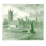 The Houses of Parliament and Westminster Abbey, Illustration from 'The World as it Is' Giclee Print by  English