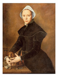 T28337 Portrait of a Lady with a Lapdog on a Table Giclee Print by Pieter I Pietersz.