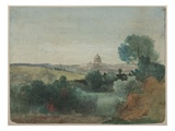 Saint Peter's Seen from the Campagna, C.1850 (W/C over Pencil on Paper) Giclee Print by George Snr. Inness