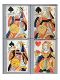 Queen of Spades and Queen of Hearts Playing Cards, 17th - 18th Century (Coloured Wood Engraving) Giclee Print by  French