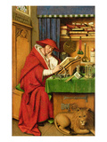 St. Jerome in His Study (Oil on Linen Paper on Panel) Wydruk giclee autor Jan van Eyck