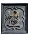 St Ambrose, Panel E of the North Doors of the Baptistery of San Giovanni, 1403-24 (Bronze) Giclee-tryk i høj kvalitet af Lorenzo Ghiberti