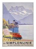 Die Simplonlinie an Den Gestaden Des Genfersees', Poster Advertising Rail Travel around Lake Geneva Giclee Print by Emil Cardinaux