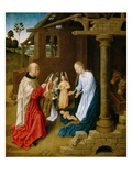 Adoration of the Christ Child (Oil on Oak Panel) Giclee Print by  Master of San Ildefonso
