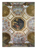 Camera Delle Aquile, Ceiling with the Fall of Icarus in the Central Panel Surrounded by Stucco Giclée-tryk af Giulio Romano