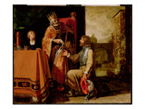 King David Handing the Letter to Uriah, 1611 (Paint on Panel) Premium Giclee Print by Pieter Lastman