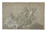 Rescue Group, 1777/78 (Black Chalk Heightened with White on Paper) Giclee Print by John Singleton Copley