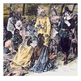 Roger Williams Purchases the Required Land from the Narragansett Indians (Colour Litho) Giclee Print by  American