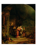 The Visitation, 1640 (Oil on Panel) Giclee Print by  Rembrandt van Rijn