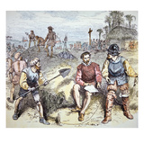 The Founding of St. Augustine in Florida by the Spanish in 1565 (Colour Litho) Giclee Print by  American