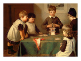 A Critical Moment, Detail of Children Building a House of Cards, 1889 Giclee Print by Harry Brooker