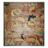 Portion of a Carpet with Fantastic Animals on Red Ground, Mughal, C.1580/85 (Cotton and Wool Pile) Giclee Print by  Indian