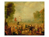 Troupe of Actors Performing on a Tightrope Giclee Print by Joseph Van Aken