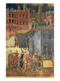 Good Government in the City,1338-40 (Detail of 57868) (Fresco) Premium Giclee Print by Ambrogio Lorenzetti