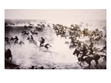 Homesteaders Rushing into the Cherokee Strip, 16th September 1893 (B/W Photo) Premium Giclee Print by  American Photographer