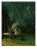 Nocturne in Black and Gold, the Falling Rocket, C.1875 (Oil on Panel) Gicléetryck av James Abbott McNeill Whistler