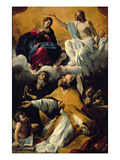The Coronation of the Virgin with Ss. William of Aquitaine and Augustine Giclée-tryk af Giovanni Lanfranco