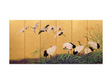 Six-Fold Screen Depicting Reeds and Cranes, Edo Period, Japanese, 19th Century Reproduction procédé giclée par Suzuki Kiitsu