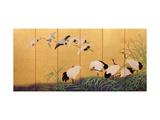 Six-Fold Screen Depicting Reeds and Cranes, Edo Period, Japanese, 19th Century Gicléedruk van Suzuki Kiitsu