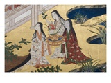 Detail of Spring in the Palace, Six-Fold Screen from 'The Tale of Genji', C.1650 Reproduction procédé giclée par  Japanese